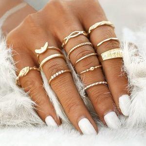 Beautiful Gold Layered Ring Fashion Set